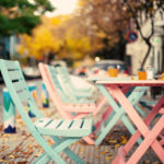 wooden chairs in cafe