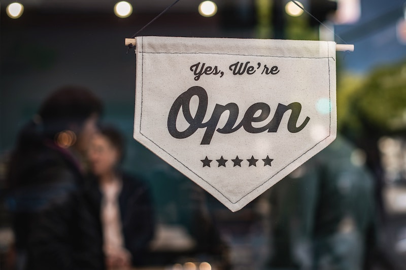 a business 'open' sign